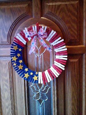 American Patriotic Clothespin Wreath