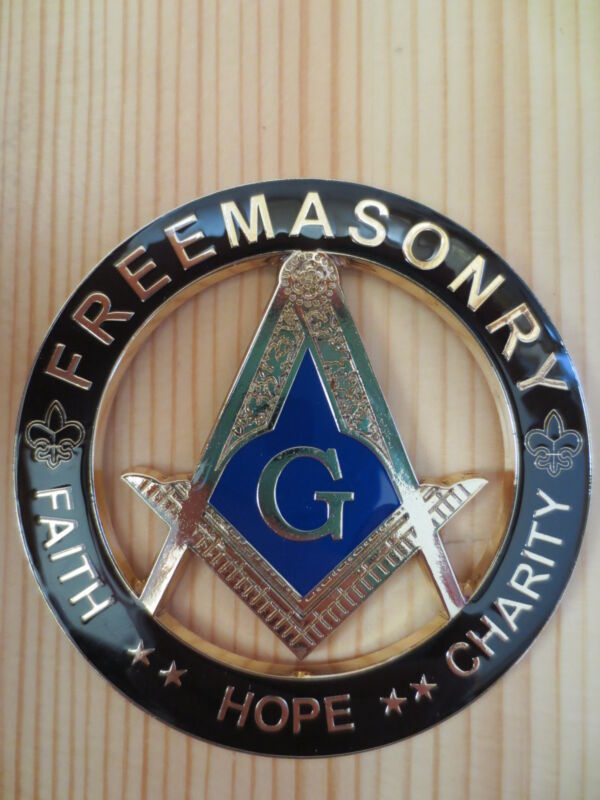Masonic Auto Car Badge Black Emblems mason Freemason E20 FAITH HOPE CHARITY