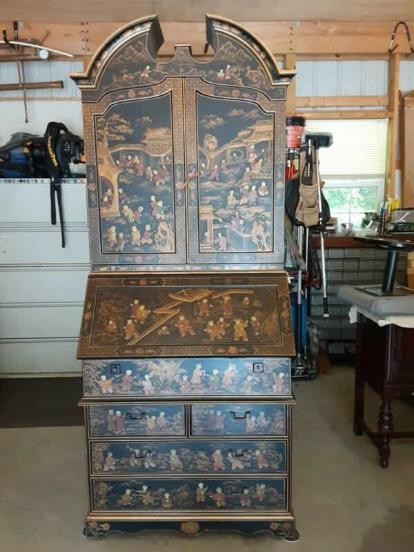 Lacquered Chinoiserie Oriental Secretary Desk Rare Excellent Condition