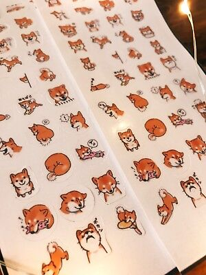 2* Shiba Inu stickers! Kawaii Japanese dog emoticon faces, cute emoji Planner