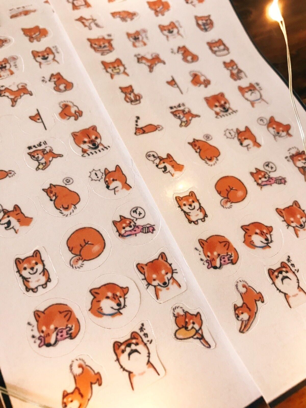 2* Shiba Inu stickers! Kawaii Japanese dog emoticon faces, c