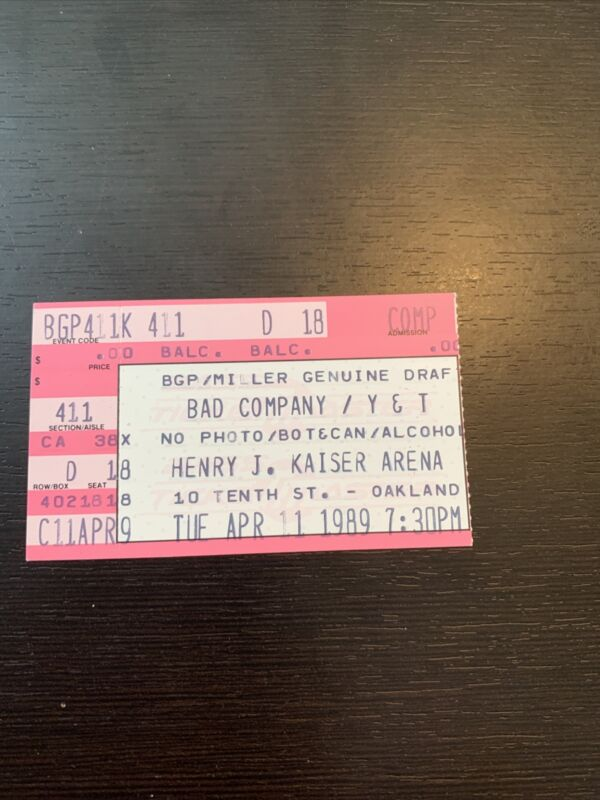 BAD COMPANY 1989 Concert Ticket Stub