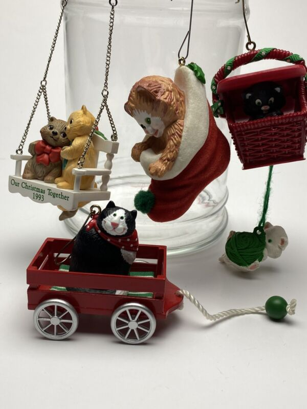 hallmark ornaments Peekaboo Kitties, Country Cat,Our Xmas Together Stocking Cat