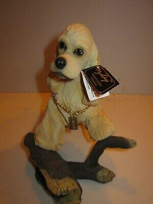 "Vintage 9"" Blond Cocker Spaniel Sculpture ""My Dog"" Figurine on Log DFLS15C"