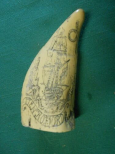 """Great Collectible Repo SCRIMSHAW Whale Tooth """"Stenroford"""".....FREE POSTAGE USA"""