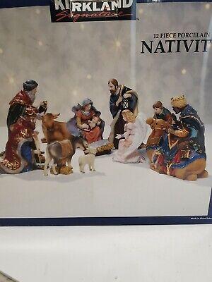 Kirkland Large Porcelain 11 Piece Nativity Set- Hand Painted/Gold Accents/Jewels