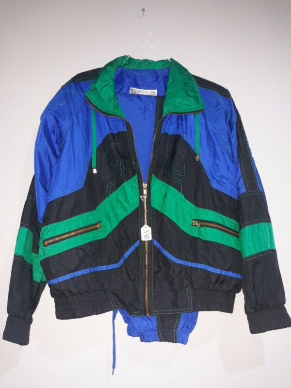 Vtg 90s Giacca Sport Wind Jacket Pants Suit Small Blue Black Green
