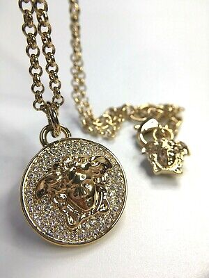GIANNI VERSACE VINTAGE MEDUSA HEAD RHINESTONES NECKLACE PENDANT GOLD CHAIN ITALY