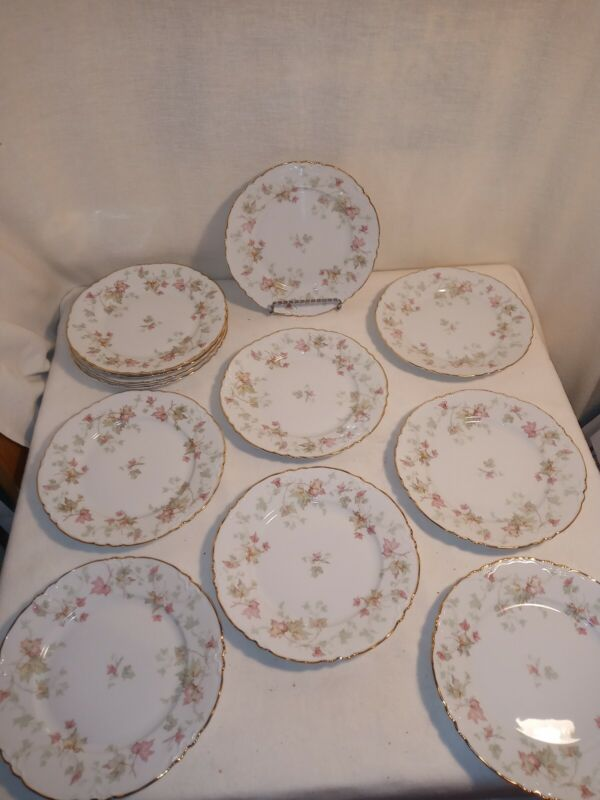 "Set Of 12 Hutschenreuther Selb Bavaria Germany LHS Fruit Plates 8"" Maple Leaf"