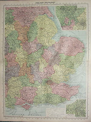 1940 MAP ~ ENGLAND SOUTH EAST SUSSEX KENT ~ INSET BLACK COUNTRY POTTERIES