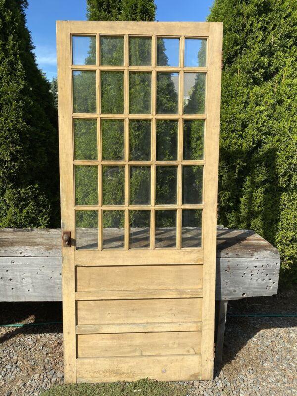 "Antique Wood Door w/ 25 Panes Wavy Glass ~ No Damaged Glass, 83 5/8""H x 36""W"