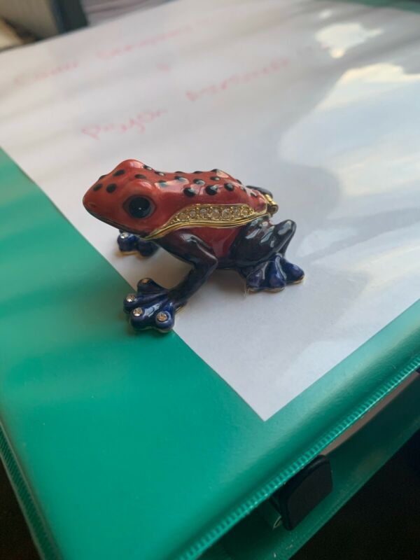 Red and Blue Bejeweled Frog Trinket with Magnetic Clasp and Gold on Bottom