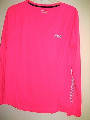 Fila Womens Pink Long Sleeve Top; Size Large