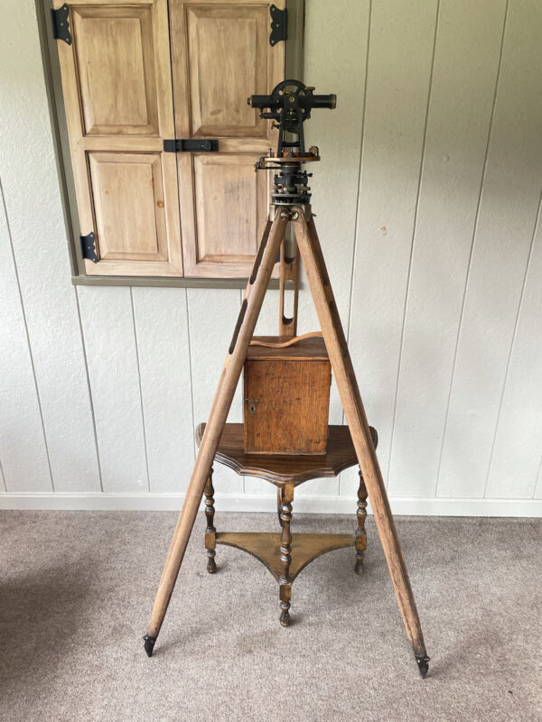 Young and Sons Antique Transit Y & S New York Surveying Compass W/ Box & Tripod