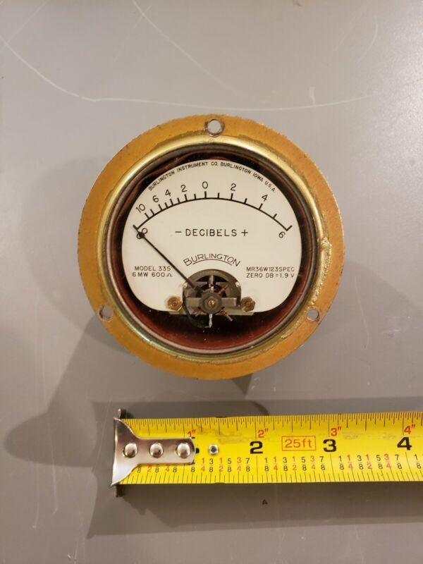 Burlington Sealed Brass Decibel Meter Tube Amp Vu
