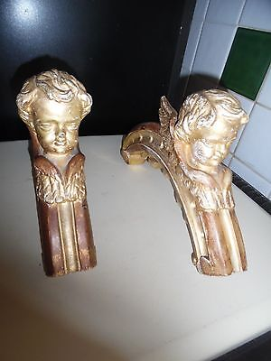 ANTIQUE GILT CARVED RELIGIOUS CHURCH ALTAR WINGED ANGEL BRACKETS