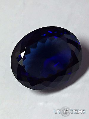 Sapphire Blue Dark. Oval 12x10 mm 6,55 Ct. Monosital Created Gemstone. US@GEMS