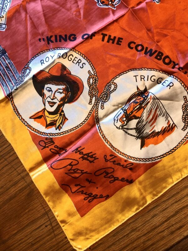 """Vintage 1950 Cowboy Wild Rag Roy Rogers RRBarRanch Hankerchief Bandana Scarf 24"""""""