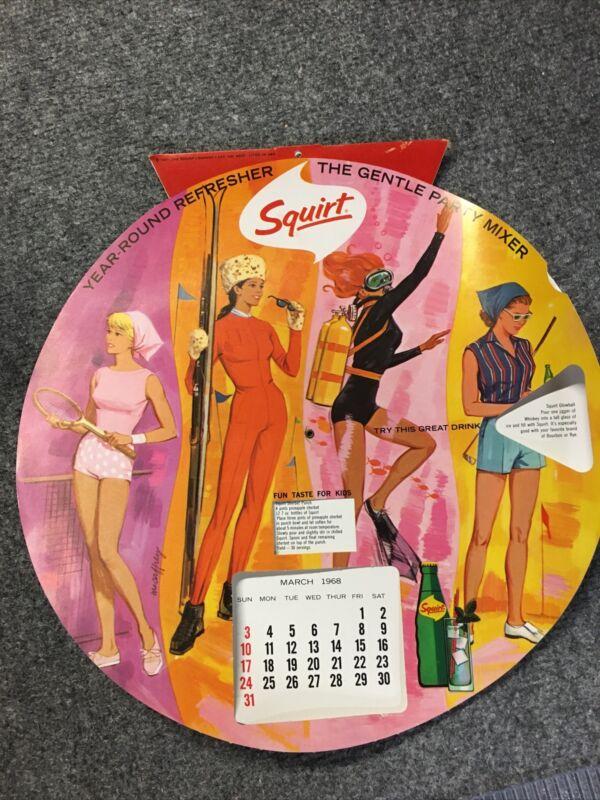 VINTAGE SQUIRT SODA 1968 CALENDAR Gentle Drink Mixer RARE! Rotating Calender