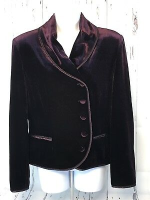 Together Velvet Jacket (Together Women's Purple Velvet Satin Trim  Jacket Blazer  Button Up Size)