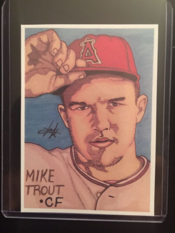 Mlb Los Angeles Angels Mike Trout Sketch Card Sticker Print Artist Tony Keaton