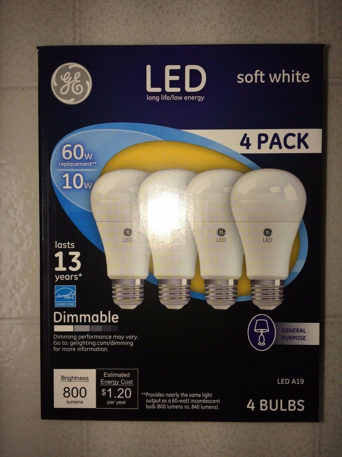 4 PACK GE LED 60W = 10W Soft White Dimmable 60 Watt