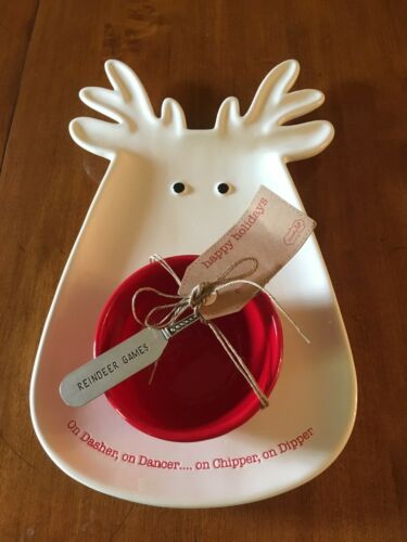 Mud Pie Reindeer Chip N Dip Set 41800020