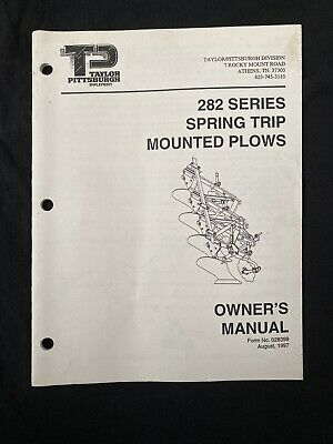 Taylor Pittsburgh 282 Series Spring Trip Mounted Plow Manual 1023