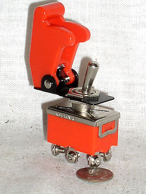 New Dpdt Model Rocket Toggle 15a Switch With Red Plastic Safety Flip Cover Guard