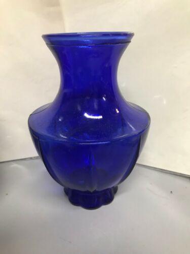 """VINTAGE INDIANA GLASS COBALT BLUE Flower VASE 6"""""""