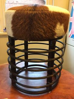 Cowhide round stool