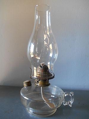 Antique Clear Glass Oil/Kerosene Finger Lamp Burner and Chimney