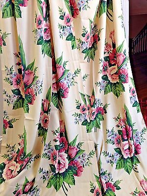 """VTG 1940s English Country Cottage Rose Floral Drapes Curtains Panels 81"""" x 38"""""""