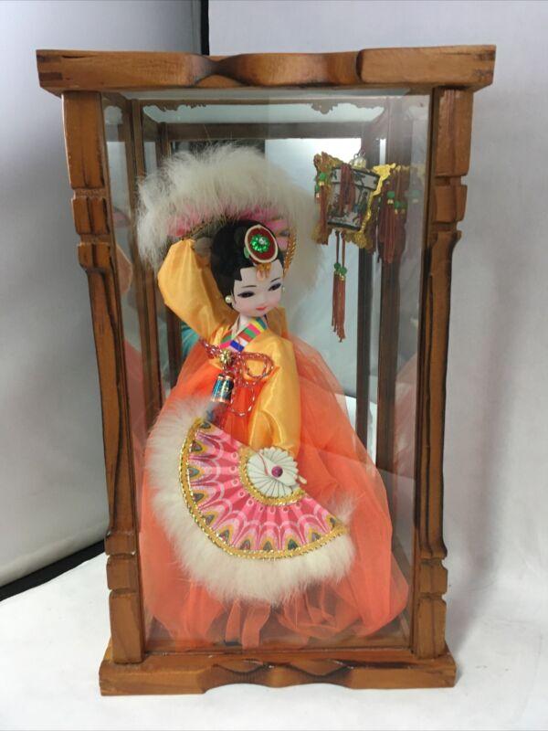 "Vintage Korean Doll in Glass Case 11"" Cloth Figurine Orange Dress Fans & Lantern"