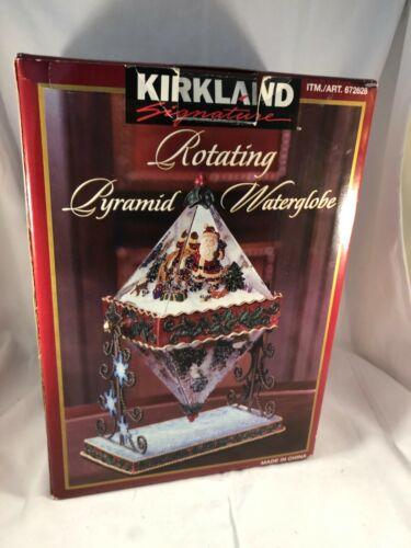 Kirkland Rotating Pyramid Waterglobe Snowglobe Snow Globe Santa Snowman NIB