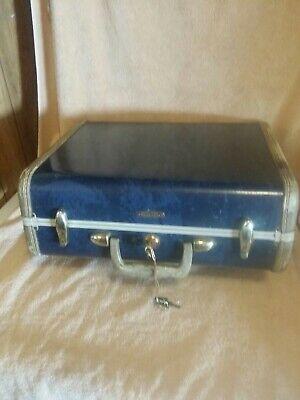 Vintage Samsonite Luggage Blue Marble Hardcase Series 4716 With Key