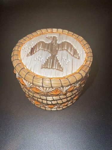 Small Anishinaabe Indian Fancy Quill Birch Basket Box Thunderbird Eagle Native
