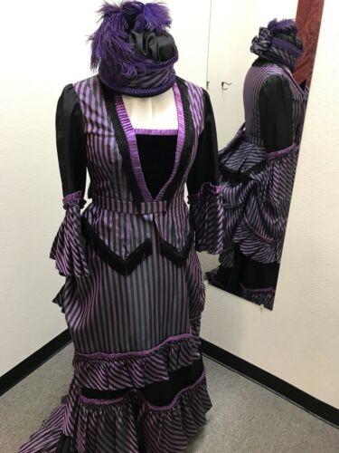 1870 Victorian Bustle Dress. Steampunk. Bodice, Skirt, Overskirt, Petticoat