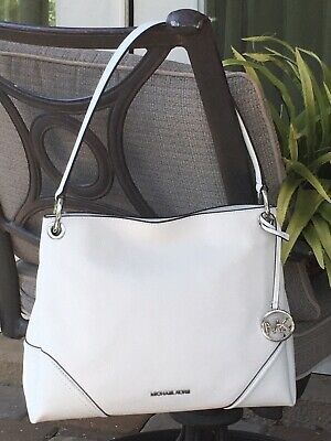 MICHAEL KORS NICOLE MEDIUM SHOULDER TOTE BAG PURSE WHITE LEATHER SILVER $368