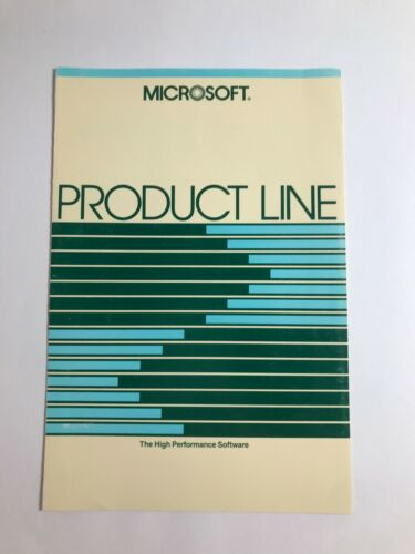 VINTAGE Microsoft Product Line Brochure RARE COLLECTIBLE