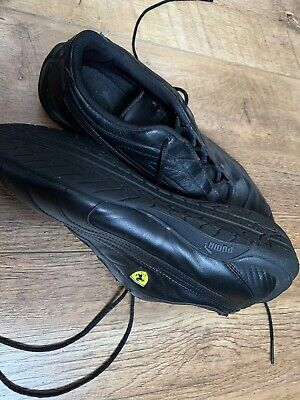 Puma For Ferrari Black Leather Trainers, Size 9
