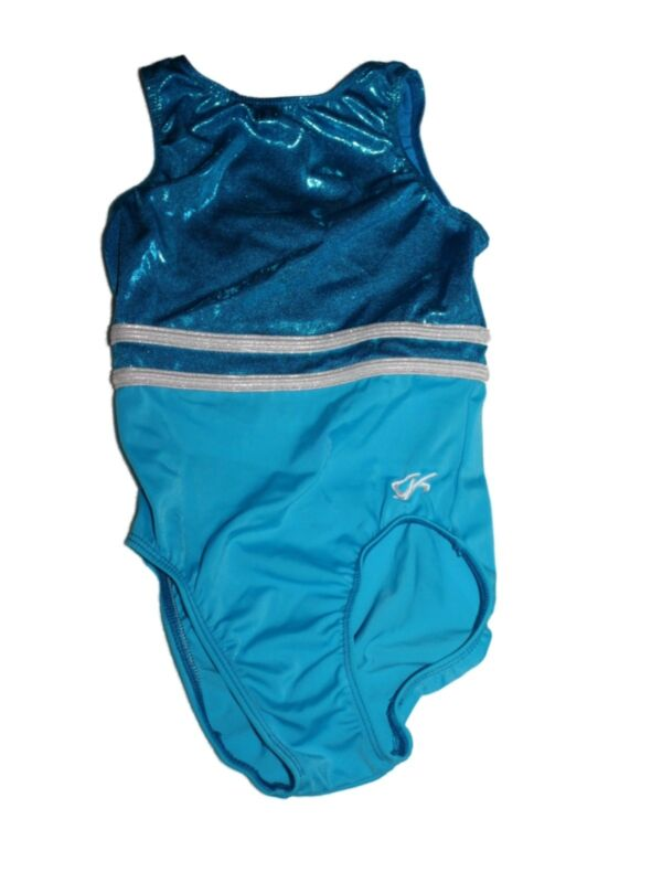 Girl GK Elite Child Large Size CL Turquise Blue Silver Gymnastic Leotard