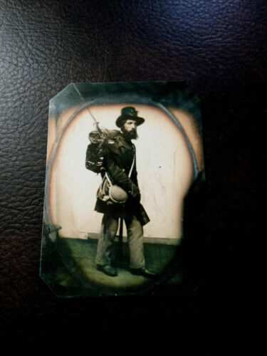 tintype of  Civil War soldier in full gear with Backpack tintype C537RP