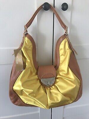 Designer Handtasche Nylon (NEU Botkier Designer Handtasche Schultertasche Leder braun gelb Nylon)