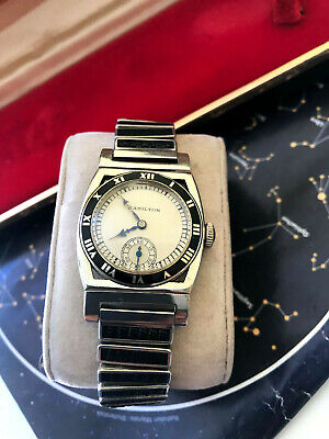 Rare find 14k White Gold and Enamel Hamilton Piping Rock men's watch with box
