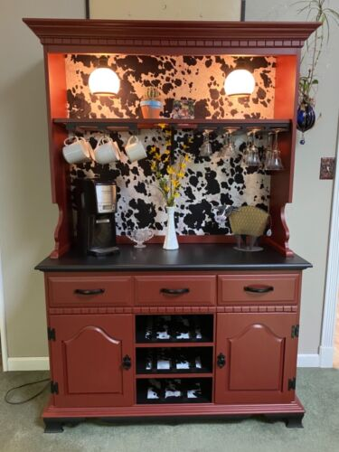 Coffee Bar Wine Bar RISE AND WINE!  Cabinet Hutch Dining Room Kitchen