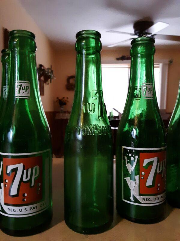 1936 7Up Embossed 7 oz Bottle Embossed Green Glass