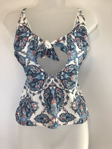 Becca Rebecca Virtue Blue Floral Tankini Swimsuit Beach Swim Top Size D NWT $78 Clothing, Shoes & Accessories