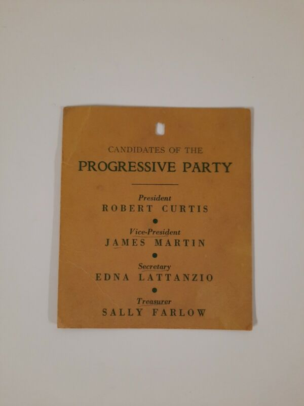 "PROGRESSIVE PARTY 1945 JUNE ELECTION tag Vintage 4""x3"""