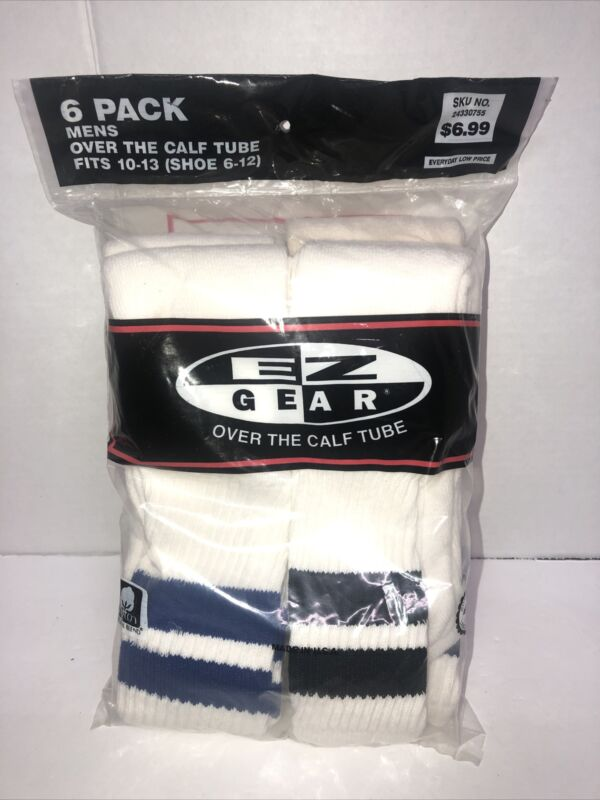 Vintage Mens Over The Calf Tube Socks 6 Pack Striped New Old Stock EZ Gear Ames